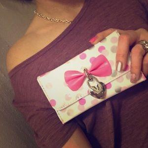 Polka dot pink bow wallet